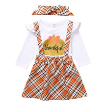 Load image into Gallery viewer, Toddler Kids Baby Girl Thanksgiving Outfits Sets Shirt Suspender Skirt Autumn Toddler Girls Clothing Sets Thanksgiving Outfits