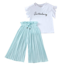 Load image into Gallery viewer, Summer 2019 Girls Clothing Sets Kids T-shirt +Wide Leg Pants Suits Children Short Sleeve Baby Girl Clothes 5 6 7 8 9 10 12 Years