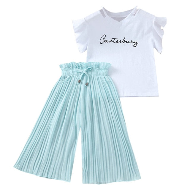 Summer 2019 Girls Clothing Sets Kids T-shirt +Wide Leg Pants Suits Children Short Sleeve Baby Girl Clothes 5 6 7 8 9 10 12 Years