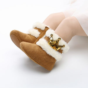 Autumn Winter Newborn Infant Baby Girls Boots Warm Cute Comfortable Crown Ornament Fur Mid-Calf Length Slip-On Furry Boots 0-18M