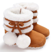 Load image into Gallery viewer, Autumn Winter Newborn Infant Baby Girls Boots Warm Cute Comfortable Crown Ornament Fur Mid-Calf Length Slip-On Furry Boots 0-18M