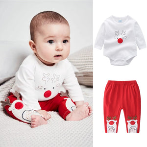 Infant Baby Clothes Set Boys Girls Cartoon Christmas XMAS Deer Romper Long Sleeve Tops+Pants 2Pcs Toddler Kids Clothing Sets