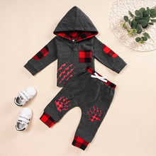 Load image into Gallery viewer, winter cotton boys clothes Long Sleeve Plaid Hooded boutique kids clothing Paw Print Pullover +Pants Outfiit fashion clothes