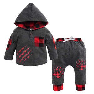 winter cotton boys clothes Long Sleeve Plaid Hooded boutique kids clothing Paw Print Pullover +Pants Outfiit fashion clothes