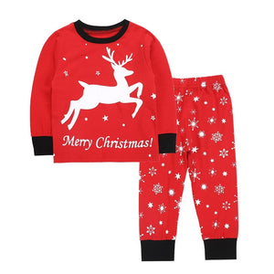 Toddler Kids Baby Boys Girls Long-Sleeves O-neck Cartoon Deer Merry Christmas Tops Pants Pajamas boy Family Clothing Outfits Set