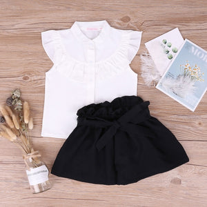 Summer Autumn New 2PCS Toddler Kids Girl Clothes Set Short Sleeve Mini Boss T-shirt Tops + Leather Skirt Outfit Child Suit New