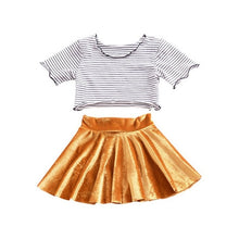 Load image into Gallery viewer, Summer Autumn New 2PCS Toddler Kids Girl Clothes Set Short Sleeve Mini Boss T-shirt Tops + Leather Skirt Outfit Child Suit New