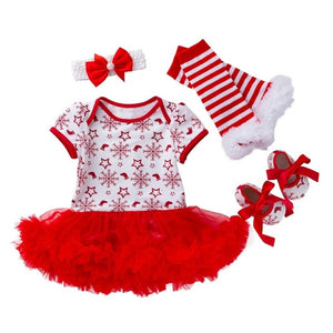 Baby Christmas Clothes 4PCS Winter Sets Santa Claus Print Romper Tutu Dress New Year Party Toddler Kids Boys Girls Clothes 19Sep