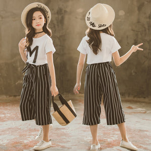 Baby Teenage Girls Clothes Set 2019 Sequin Letter M T shirt Loose Stripe Capris Pants Summer Children Girl Clothing 3-13 Years