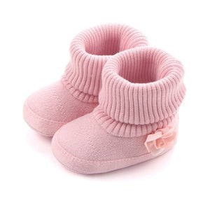 Winter Baby Girls Warm Boots Shoes Flower Printed russia infants warm shoes Soft Sole No-slip Infant First Walker Prewalkers