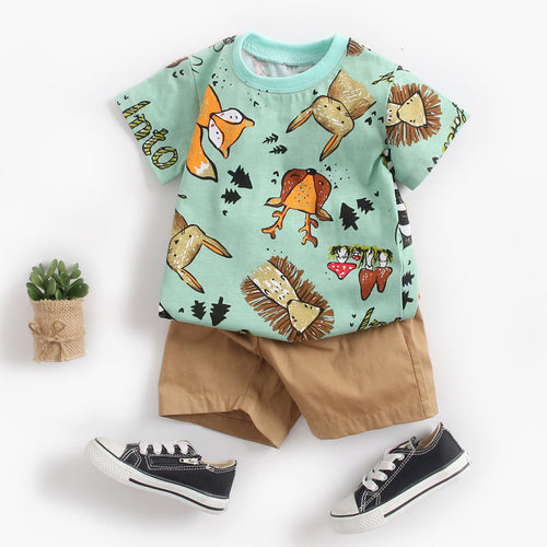 Cute Toddler Baby Boys Girls Clothes Summer Children Clothing Short Sleeve O-Neck Cartoon Tops Shirt+Pants Outfits Set 2019