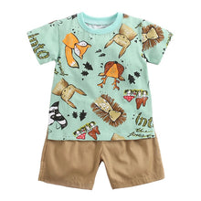 Load image into Gallery viewer, Cute Toddler Baby Boys Girls Clothes Summer Children Clothing Short Sleeve O-Neck Cartoon Tops Shirt+Pants Outfits Set 2019