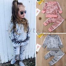 Load image into Gallery viewer, New Baby Girls Clothes Gold Velvet Long Sleeve Suit Boys Clothing 2pcs Kids Clothing  Toddler Winter Clothes Girls Fall Outfits