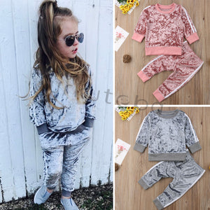 New Baby Girls Clothes Gold Velvet Long Sleeve Suit Boys Clothing 2pcs Kids Clothing  Toddler Winter Clothes Girls Fall Outfits