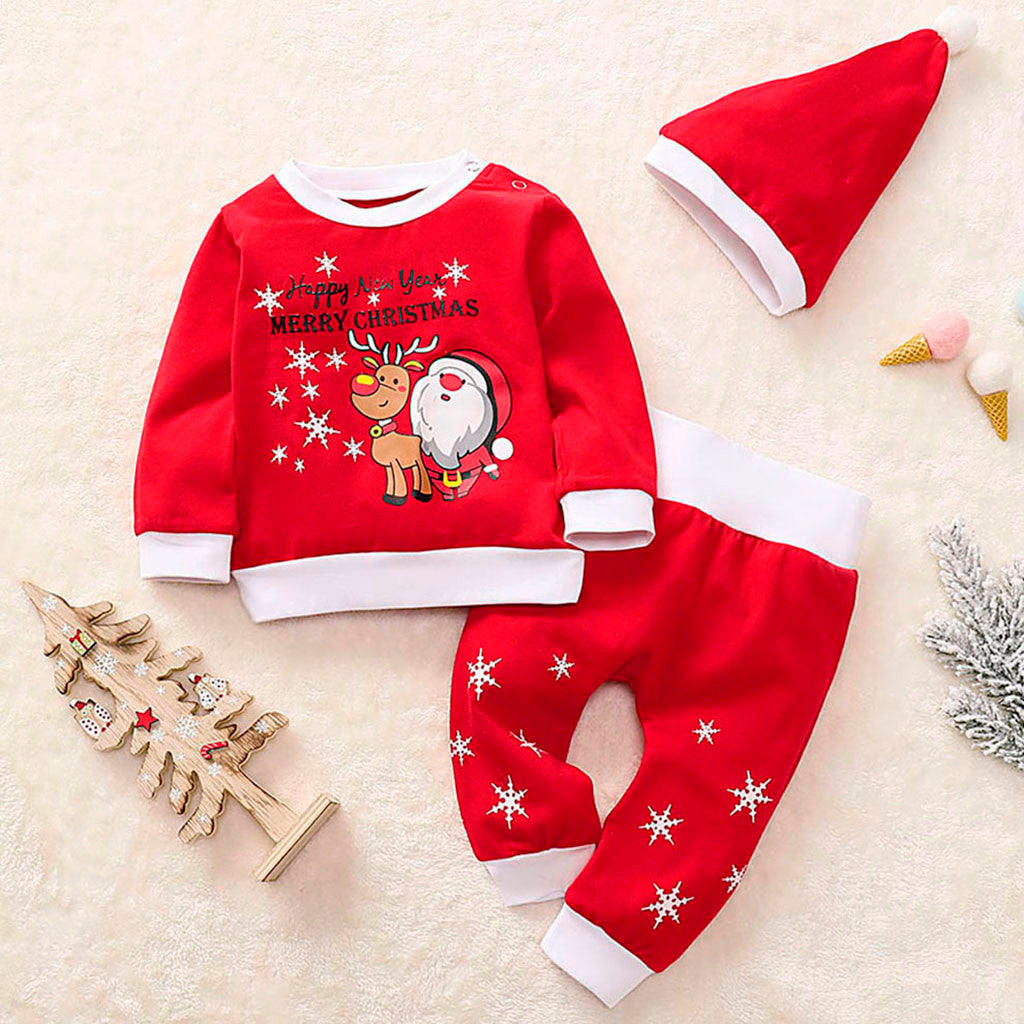 Toddler Girls Children kids baby Christmas set clothes Santa Fawn Print Pajamas Sleepwear boutique clothing Tracksuit Outfits