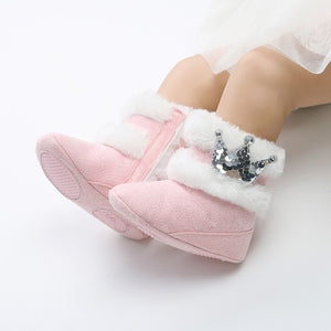 Newborn Baby Shoes Winter Warm Baby Boots Crown Fur Slip-On Furry Infant Warm Prewalkers Soft Sole Shoes For Girls 0-18M