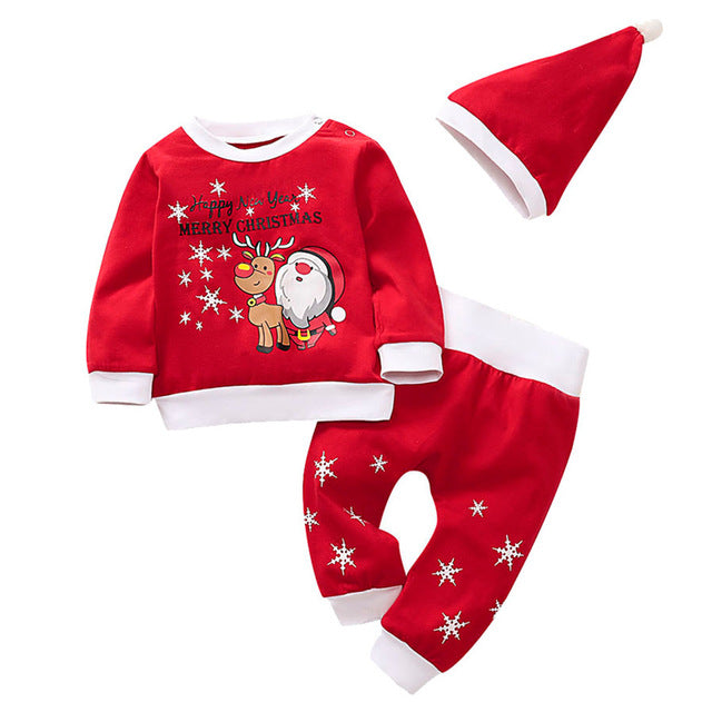 Baby Christmas Clothes Santa Print T Shirt Star Pants 3PCS Winter Sets for New Year Party Toddler Kids Boys Girls Clothes 19Sep