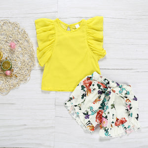 2019 Toddler Girls Clothes 2 Pcs Summer Children Clothing Sets Kids T Shirts Flower Pants For Baby Girl Outfits 1 2 3 4 5 Years