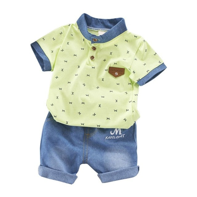 Casual Toddler Outfits Baby Boy Summer Clothes Newborn Boy Clothing Set Sports T-shirt+ Shorts Suits Leaves Print Clothes