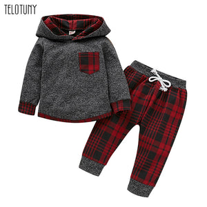 TELOTUNY Toddler Boys Clothes 2019 Autumn Winter Kids Clothes Plaid Pullover Hooded Tops Pant Outfit For Boys Clothing Sets 1025