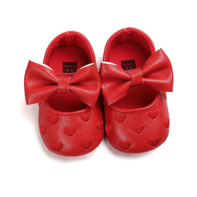 Spring Soft Bottom Bow knot Autumn Babies  Baby 3-colors Heart Pattern Shoes Newborn Handmade PU leather shoes