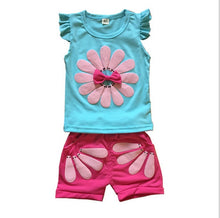Load image into Gallery viewer, 2019 Summer Girls Clothes Set Toddler Kids Baby Cartoon Flower T shirt Shorts Bebe Newborn Children Girl Clothing 1 2 3 Years