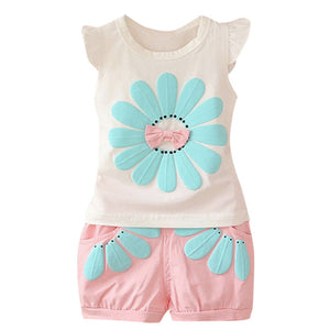 2019 Summer Girls Clothes Set Toddler Kids Baby Cartoon Flower T shirt Shorts Bebe Newborn Children Girl Clothing 1 2 3 Years