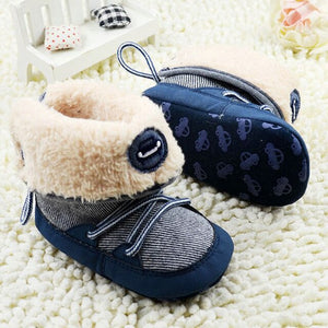 Winter Warm Toddler Baby Boots Fur Snow Stripes Soft Sole First Walkers Shoes for girl boy