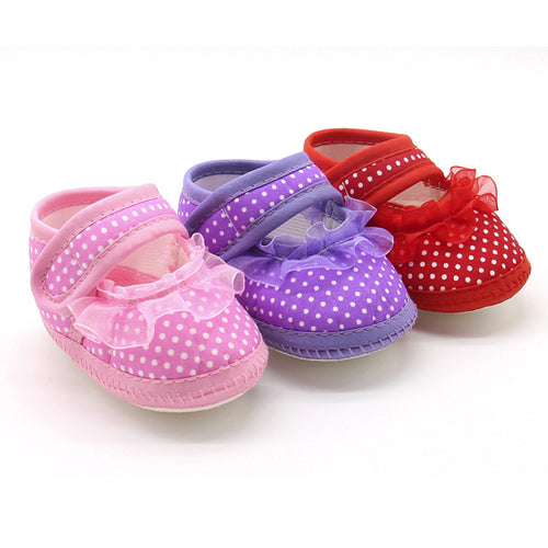 Babies Shoes For Baby Girl Fashion Dot Sweet Lace Girls Soft Sole Prewalker Warm Casual Flats Shoes zapatos bebe recien nacido