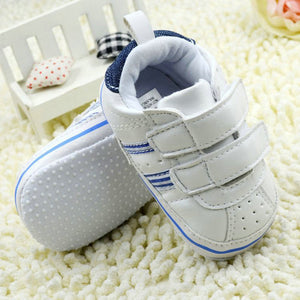 Anti Slip Soft Sole Sneakers 3-18M Baby Boy Girls Crib Shoes Faux PU Leather Cotton