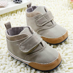 Newborn Baby Boys Cotton Ankle Canvas High Crib Shoes Casual Sneaker Toddler First Walkers