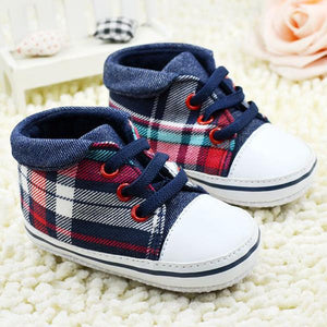 Toddler Boys Plaid Crib Shoes Sneakers Lace UP Soft Sole Baby Shoes First Walker