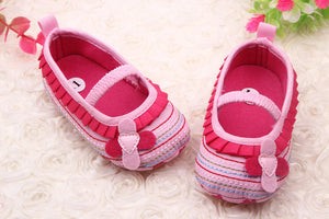Stylish 0-12 M Sweet Newborn Baby Girls Flower Ruffled Shoes Toddler Soft Bottom Kids Crib First Walkers
