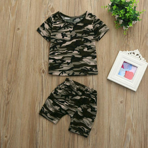 Camouflage T shirt Tops+Pants Clothes Set Baby Boys Short Sleeve O-Neck Casual Shirts Toddler Kids Cotton Summer Clothing 2018