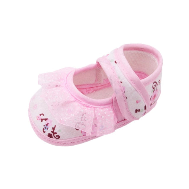 Baby shoes girls First Walkers Newborn Baby Girls Soft Shoes Soled Lace Floral Printed Footwear Crib Shoes for kids 2018 New
