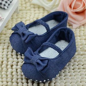 LONSANT First Walker Baby Shoes 2018 Baby Bowknot Denim Toddler Princess First Walkers Girls Kid Shoes Dropshipping Wholesale