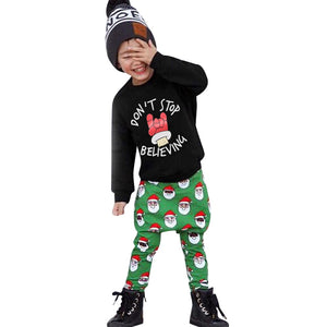 Boys Girls Christmas Clothes Set Long Sleeve Letter Print Tops Pants 2Pcs Toddler Kids Winter Sweatshirt Clothing Outfit Sets 30