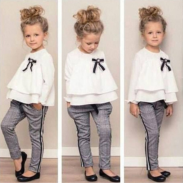MUQGEW Fashion Baby Kids clothes Girls Clothing Set 2PCs Outfits Ruffle T Shirt Tops+Checked Pants Clothes Set roupas menina