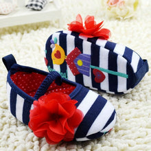 Load image into Gallery viewer, Toddler Stripe Flower Crib Shoes Soft Sole Kid Girls Baby Shoes Prewalker New
