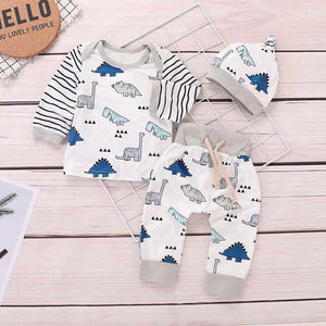 Newborn Kids Baby Girls Boy Clothing Striped Tops+Cartoon Dinosaur Pants Clothes Sets Infant Rompers Pleasant Children's Costume