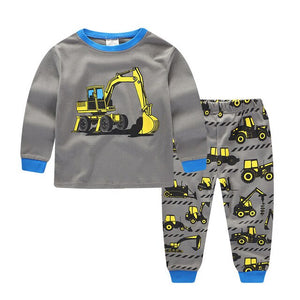2018 Brand New Fashion Toddler Boys Clothing Set Long Sleeve O-neck Cotton Tractors Print Cartoon Tops+Pants Baby Clothes