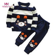 Load image into Gallery viewer, Hot Sale Children Clothing Set Long Sleeve O-neck Cotton Cartoon Autumn Winter Girl Boy Striped Bear Tops+Pants Clothes Set