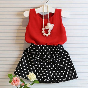 Summer Fashion Kids Girls Clothes Sleeveless Chiffon Tops Vest Polka Dot Bowknot Skirt Outfits Children Clothing Sets MAY 28