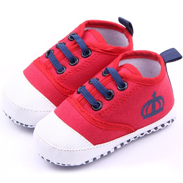 Fashion Baby Boys White/Red Soft Sole Crib Shoes Girls Cotton Sneaker Prewalker New