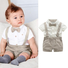 Load image into Gallery viewer, Kids Baby Boys Summer Gentleman Bowtie Short Sleeve Shirt+Suspenders Shorts Set Kids Clothes Children Clothing Set 15