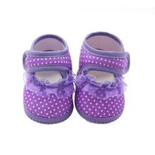 Load image into Gallery viewer, Lace Cloth Shoes Baby Girls First Walkers Toddler Bow Flower Footwear Summer Baby Girl Soft Sole Shoes