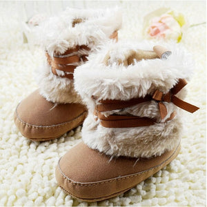 Winter Warm First Walker Baby Girl Toddler Boots With Butterfly-knot Anti-slip Shoes New
