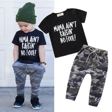 Load image into Gallery viewer, Toddler Kids Clothes Girls Boys Outfits Letter T-shirt Tops+Camouflage Pants Set Boutique Kids Clothing Vetement Enfant Fille