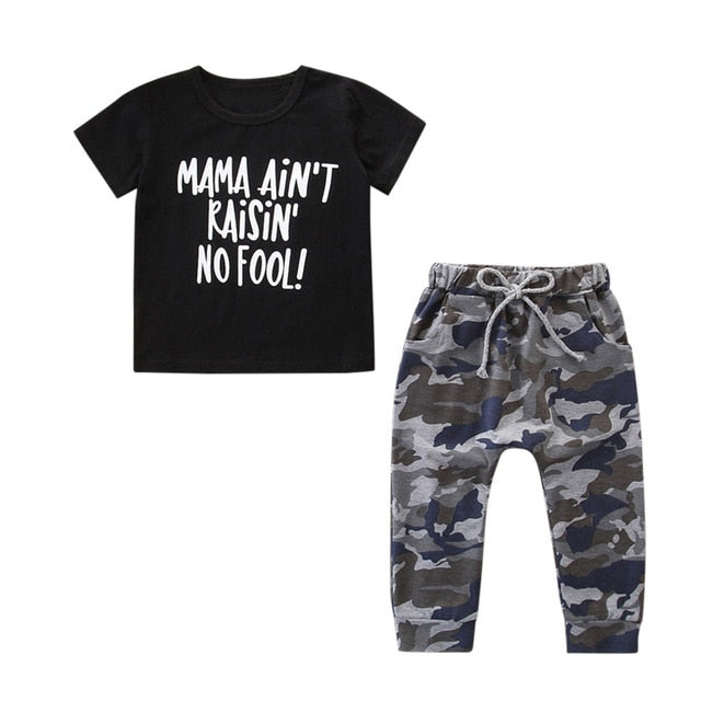 Toddler Kids Clothes Girls Boys Outfits Letter T-shirt Tops+Camouflage Pants Set Boutique Kids Clothing Vetement Enfant Fille