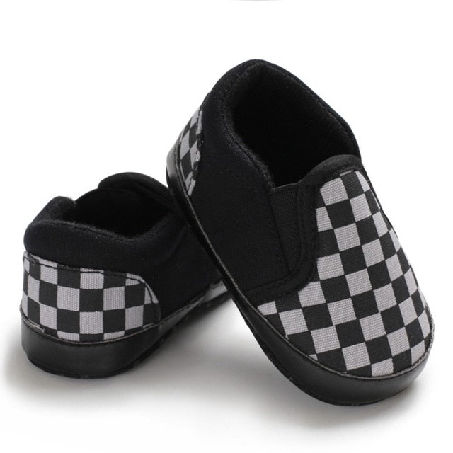 Baby Boy Plaid Pattern Anti-Slip Casual Walking Shoe Soft Soled First Walkers